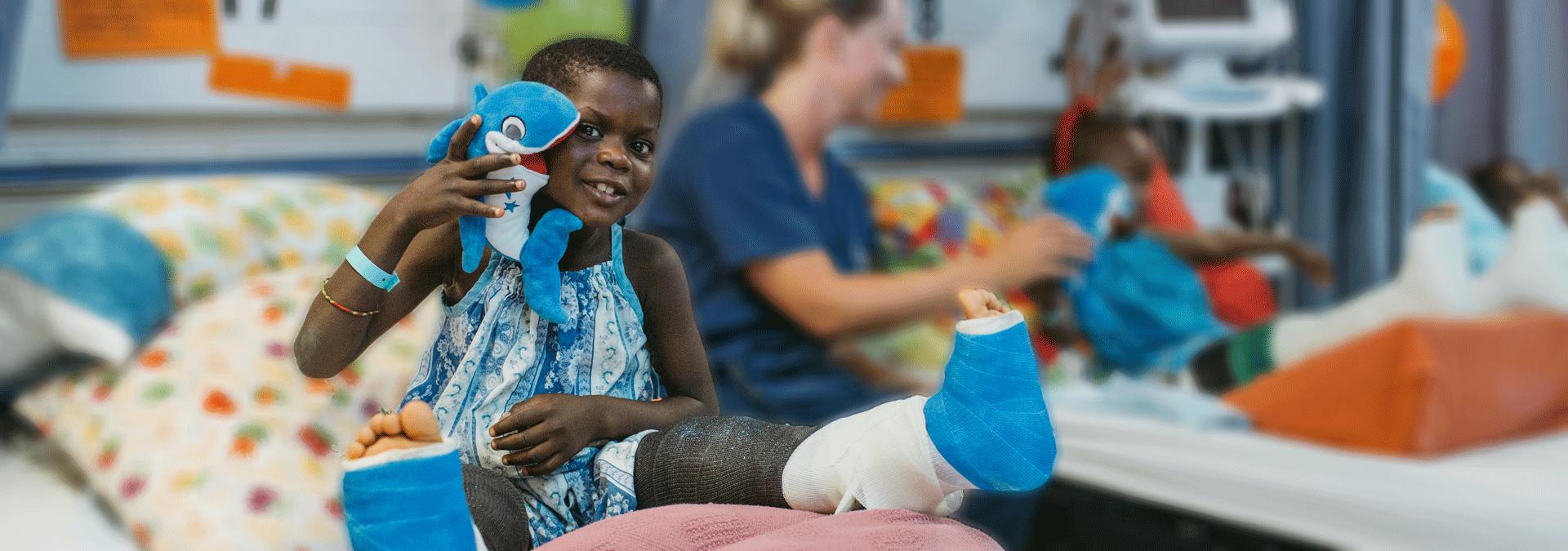Patient Diacko gebogene Beine im Krankenzimmer